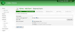 Add External Form - Step 2, API form