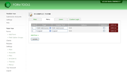 Submission Accounts module: menus tab